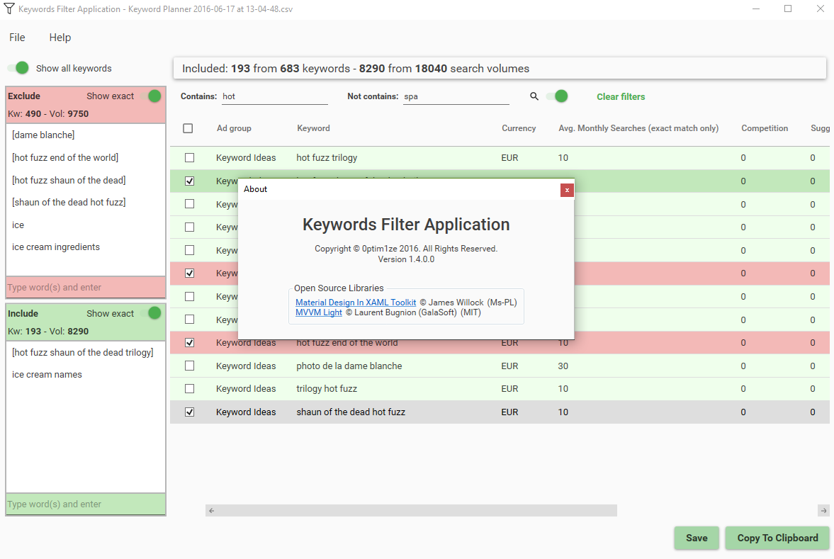 Screen of Keyword Filter Application