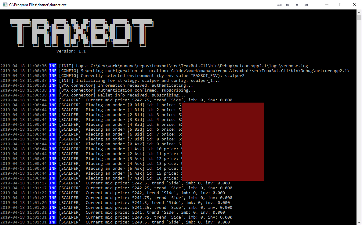 Screen of TraXBot